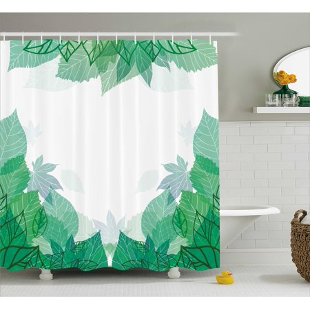 Mint Shower Curtain Tropical Green Leaves Wildlife Botanical Fern Leaf Bush Field Forest Illustration Art