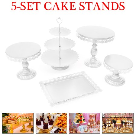 Cupcake Party Plates (5Pcs Cake Stand and Pastry Trays Metal Cupcake Holder Fruits Dessert Display Plate for Baby Shower Wedding Birthday Party)