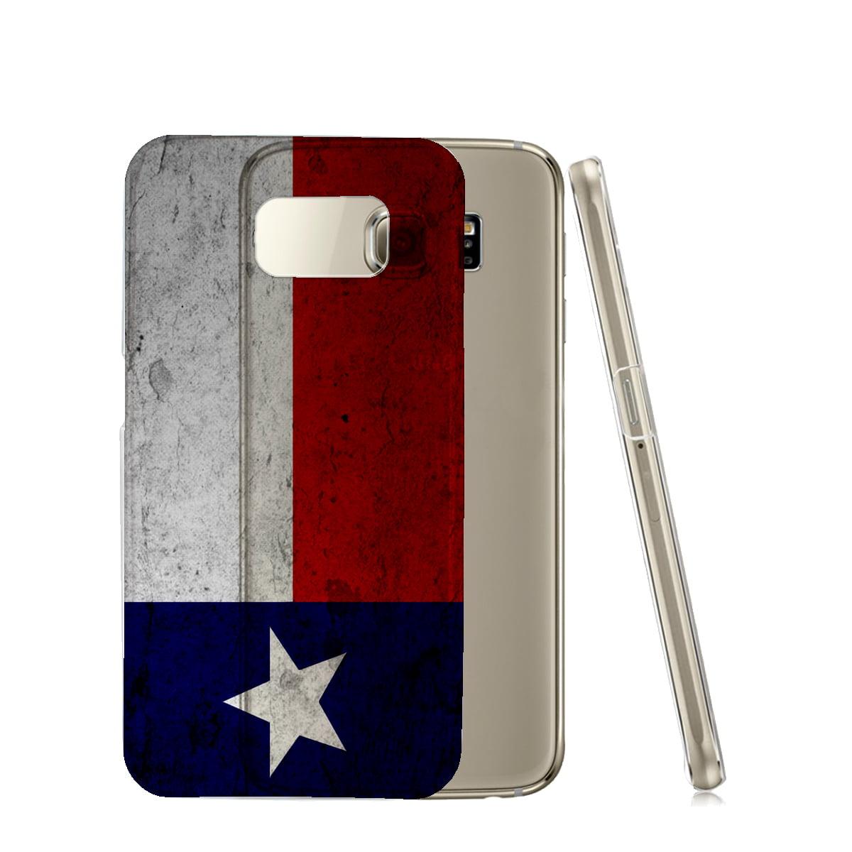 KuzmarK™ Samsung Galaxy S6 Edge Clear Cover Case - Texas Flag Concrete Wall