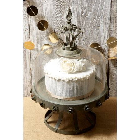 Glass Dome Covered Zinc Rustic Cake Stand 13 Inch