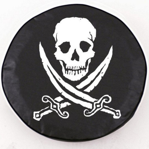 Tire Cover by Holland Bar Stool - Jolly Roger Rough, Black - 24'' x 8''