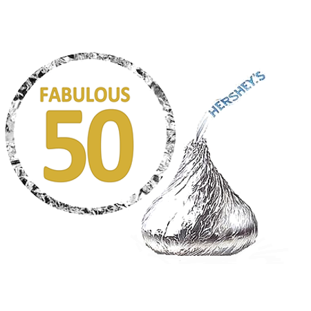 216 Fabulous 50 (50th) Birthday Hershey's Kisses Stickers / Labels - Fabulous Birthday