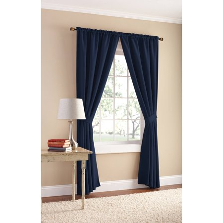 Mainstays Bennett Heavyweight Textured Curtain Panel Pair Available In Multiple Sizes And Colors - Blue And Yellow Curtains
