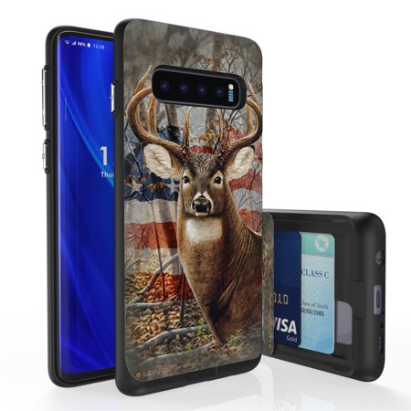 Galaxy S10 Case, PimpCase Slim Wallet Case + Dual Layer Card Holder For Samsung Galaxy S10 [NOT S10e OR S10+] (Released 2019) Deer Outdoors Buck