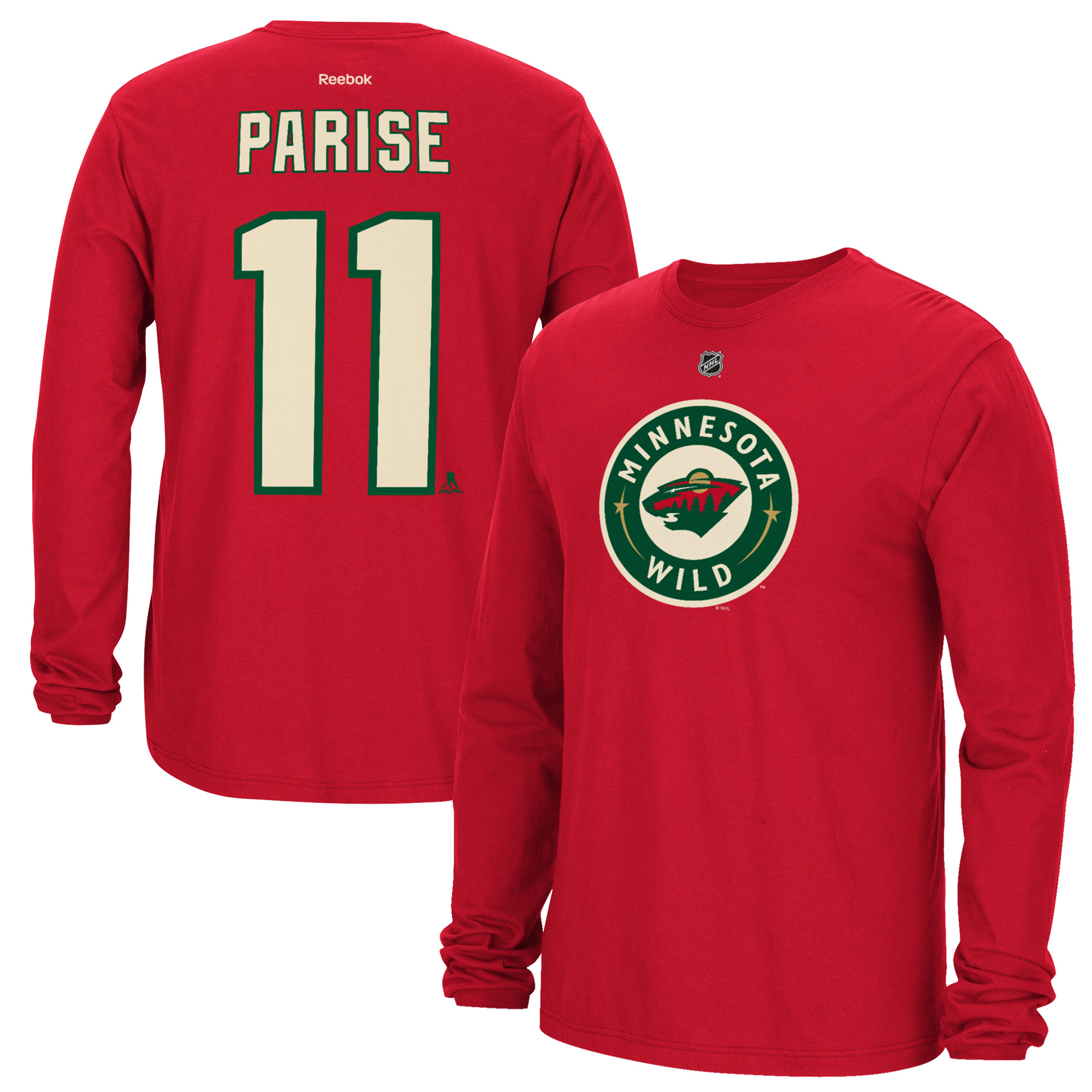 Zach Parise Minnesota Wild Reebok Name & Number Long Sleeve T-Shirt - Red
