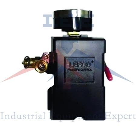 H/D PRESSURE SWITCH AIR COMPRESSOR 90-125 4 PORT 26 AMP w/ Gauge & Pop off valve