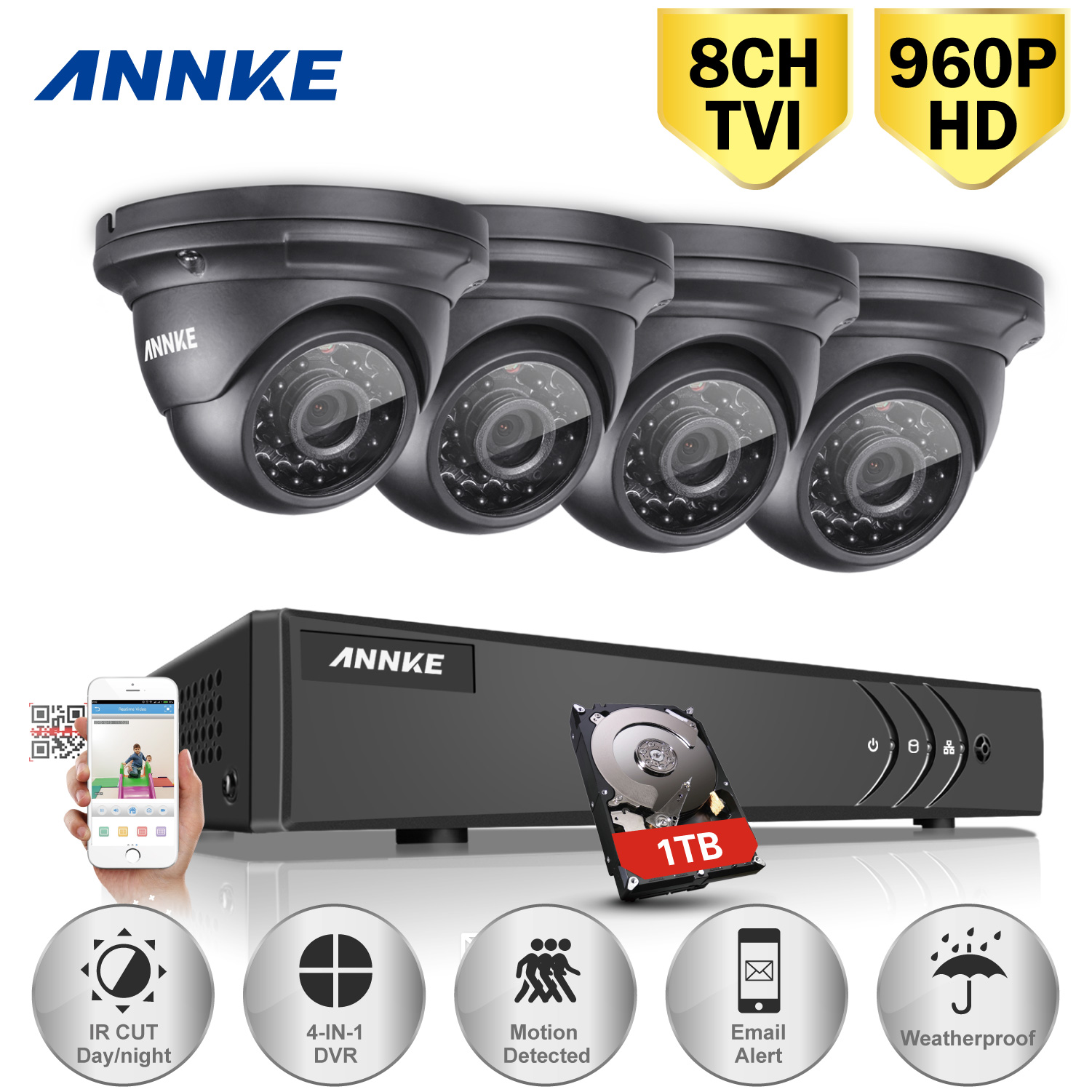 ANNKE 8CH 1080N CCTV DVR Security Camera System and 4Pcs 960P Night Vision Surveillance Cameras Kit(Hard Drive Capacity is optional:0-NO HDD,1-1TB HDD)