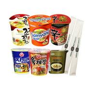 Assorted Instant Cup Noodle Soup 6 Pack- Koko Samyang Gomtang Jin Remen Hot Spicy Shin Ramen