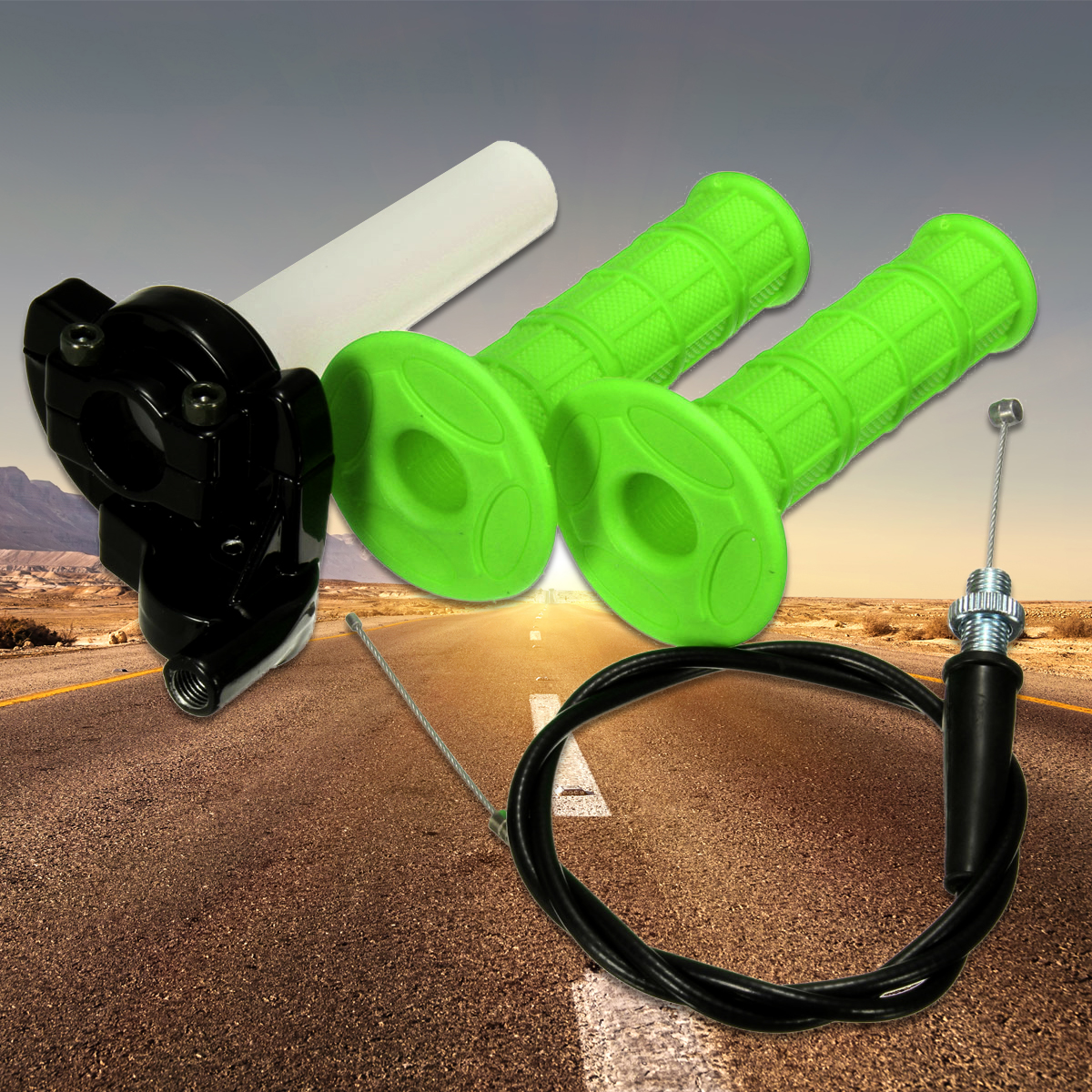 """Quick Action Throttle Grip Twist Cable For 90 110 125cc ATV Pit Dirt Bike 22mm 7/8"""" Handlebar Green"""