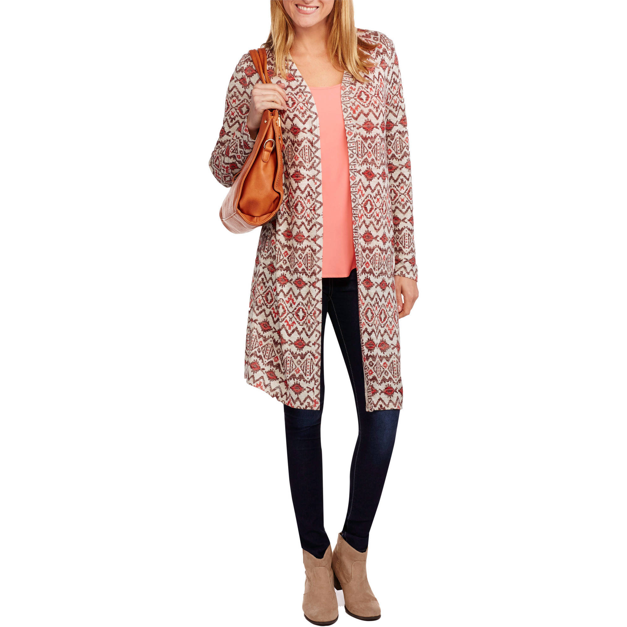 Faded Glory Women's Printed Knit Duster Cardigan