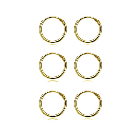 3 Pair Set Small 10mm Endless Hoop Earrings in Gold Flash 925 Silver