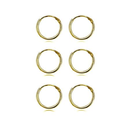 3 Pair Set Small 10mm Endless Hoop Earrings in Gold Flash 925 Silver - Neon Earrings Online