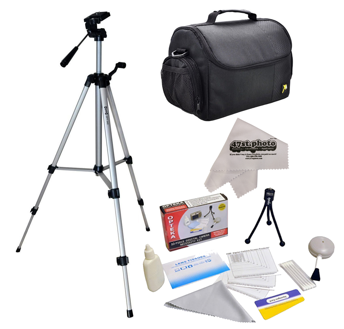 "Professional 54"" Photo/Video Tripod, Deluxe Digital Camera Padded Travel Case for Nikon D1 D1H D1X D2X D2Xs D2H D2Hs D3 D3s D3x D4 D4s D40 D40x D50 D60 D70"