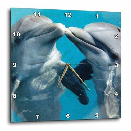 3dRose Dolphin Play - Wall Clock, 13 by 13-inch (Miami Dolphins Clock)