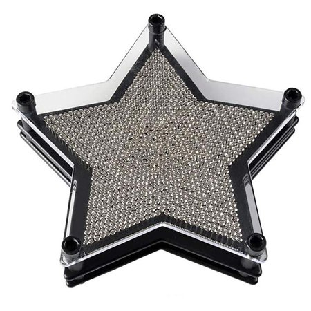 """6"""" Star Shaped Pin Art Board - Silver Metal Pinscreen Needle Set - Handprint Sculptures, Novelty Game, Image Carving, Learning Toy, Party Favor and Decoration for Children and Adults"""