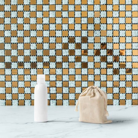 Wall Tile Gloss (Efavormart 10 Pack Self-adhesive Gold & Silver Backsplash Peel & Stick Colored Glass Mirror Mosiac Wall Tile - 12