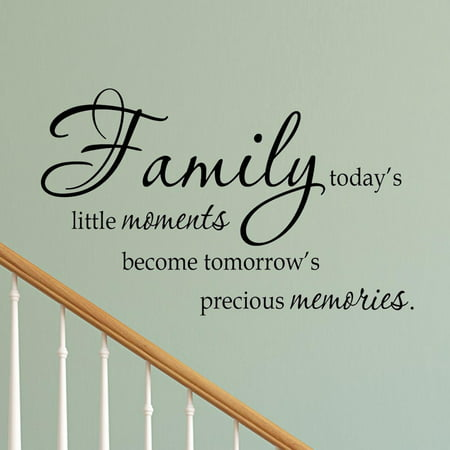 VWAQ Family Today's Little Moments Wall Decal Quotes Sayings Family Wall Decals Expressions Art Home Decor (Black) - Black Sayings