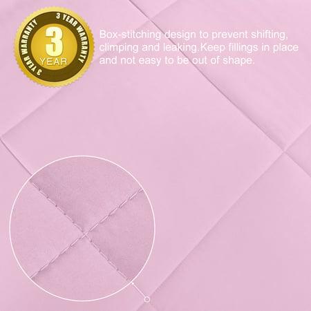 All-season Down Comforter 100% Polyester Reversible Machine Wash Pink Twin - image 6 de 8