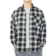 Youloveit Plaid Shirts for Men Big & Tall Long-Sleeve Check Print Button Down Plaid Flannel Shirt US M-2XL,Red/Black
