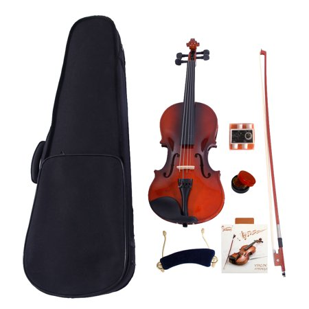 0.25 Bow - Glarry 1/4 Acoustic Violin + Case + Bow + Rosin + Strings + Tuner + Shoulder Rest Natural