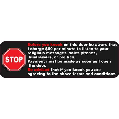 10in x 3in Stop Sign Before You Knock Sticker Vinyl Funny Door Sign Stickers](Halloween Knock The Door)
