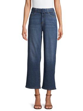 Time and Tru High Rise Wide Leg Self Belt Jeans