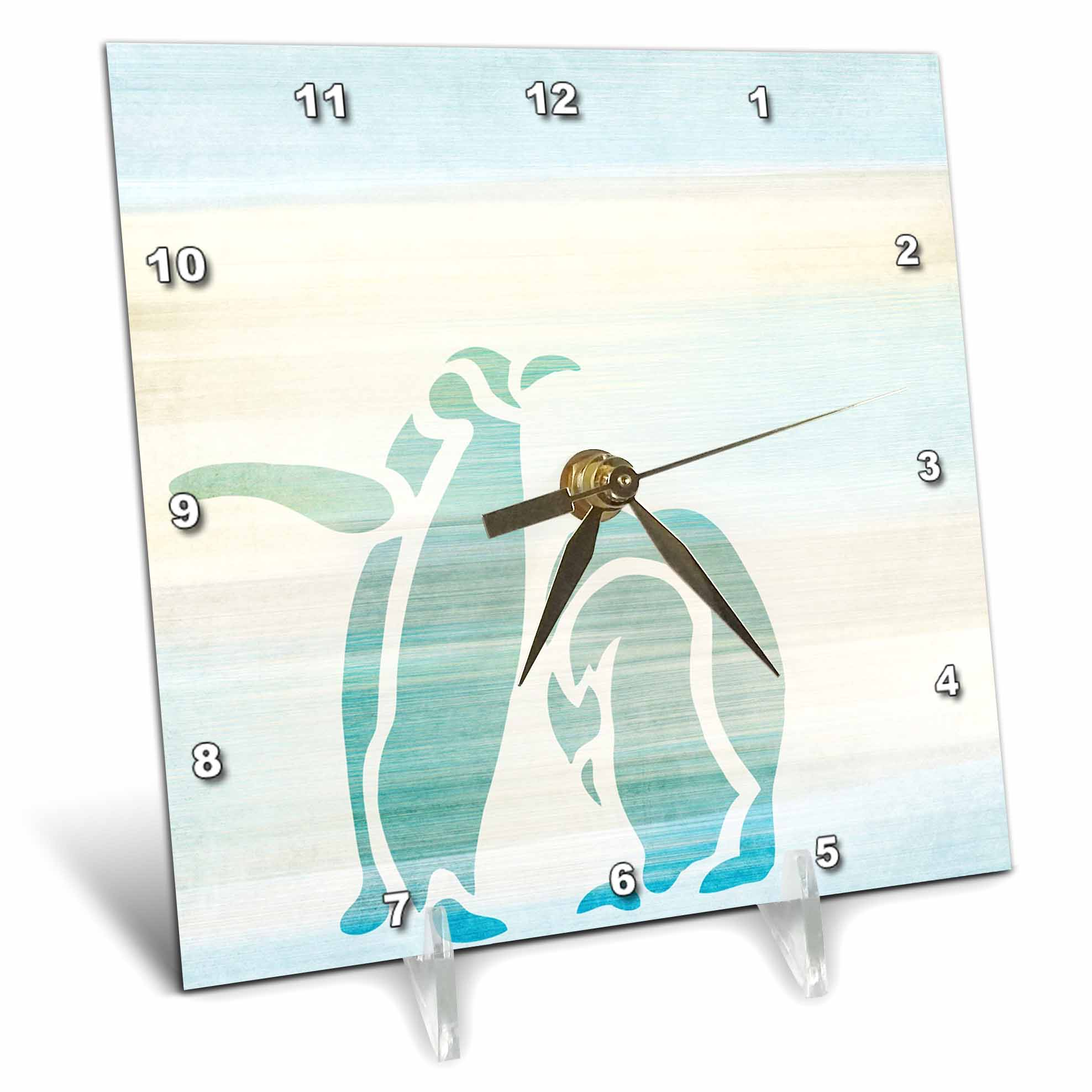 3dRose Aqua Penguins abstract animal art, Desk Clock, 6 by 6-inch by 3dRose