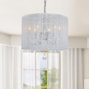 The Lighting Store Chrome and Cream 6-light Crystal Chandelier