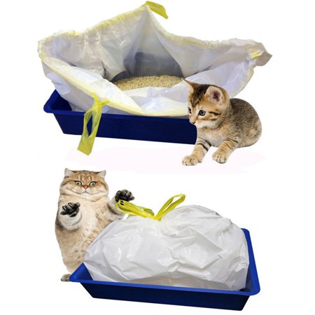 7 Pcs/lot Cat Litter Box Liners, Durable Thickening Drawstring Cat Litter Bags, Automatic Closing pet supplies (Cat Box Bag)