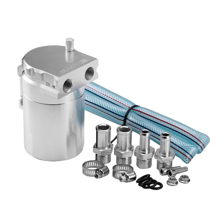 Aluminum Engine Silver Baffled Oil Catch Can Tank Reservoir Breather With Fittings Solid - image 7 of 7