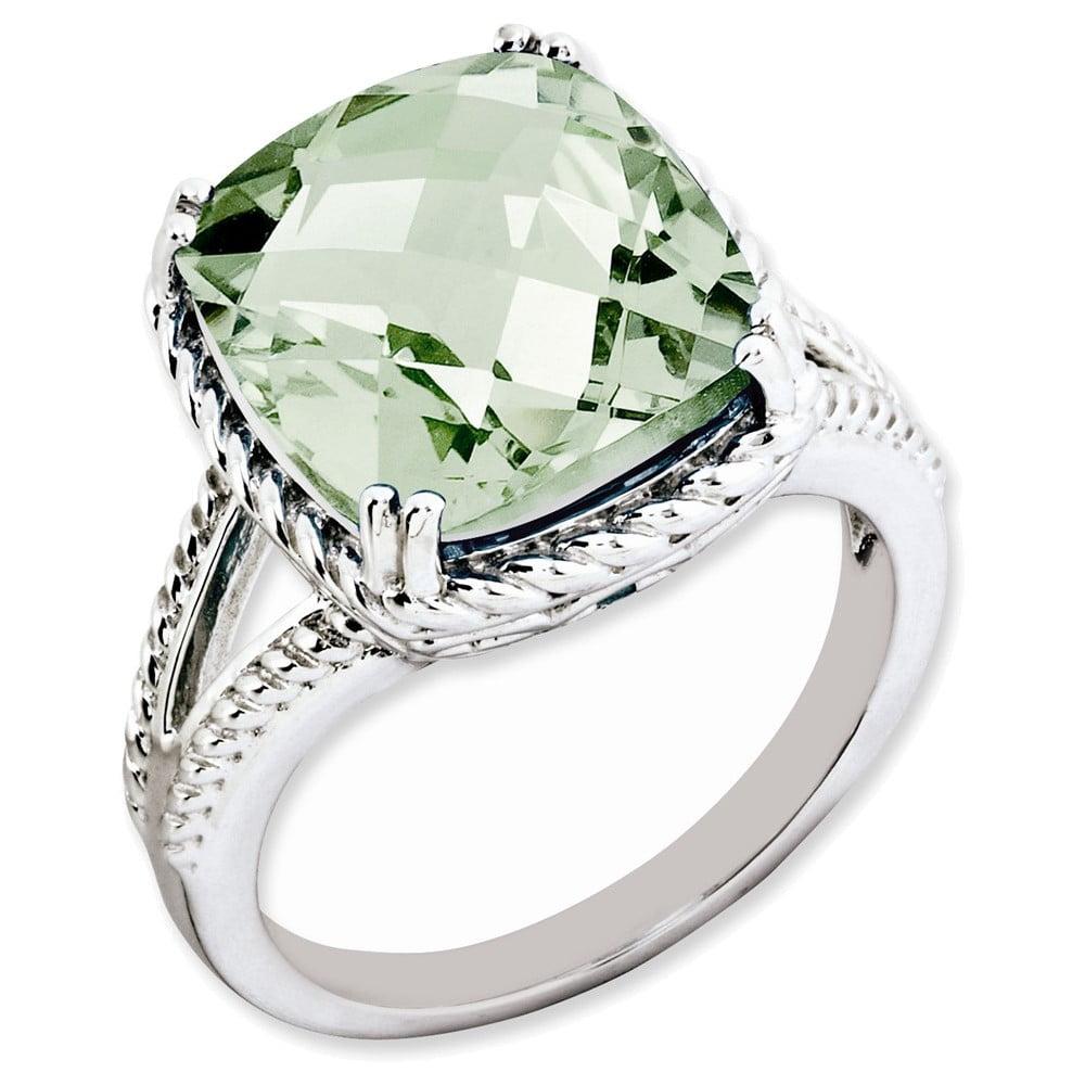 Sterling Silver Checker-Cut Green Quartz Ring Size 8