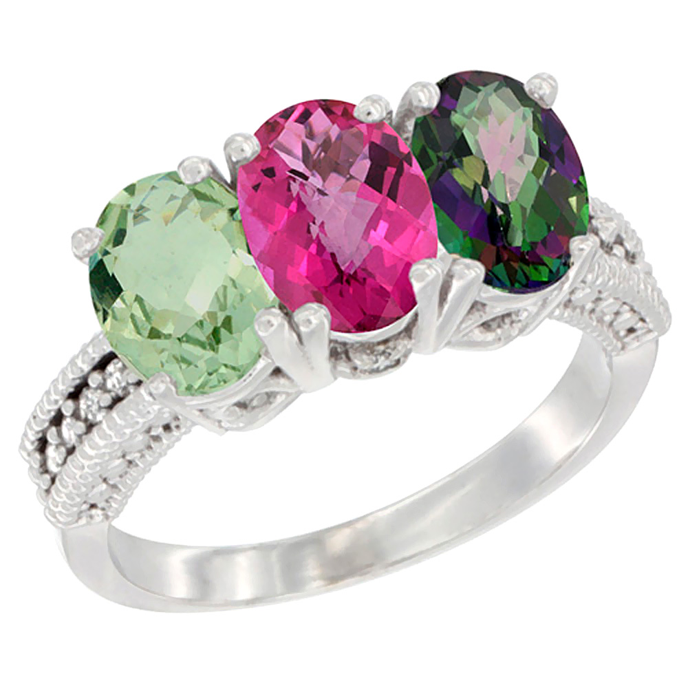 10K White Gold Natural Green Amethyst, Pink Topaz & Mystic Topaz Ring 3-Stone Oval 7x5 mm Diamond Accent, sizes 5 10 by WorldJewels