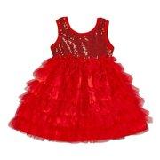 Girls Red Sparkle Sequin Tiered Tutu Flower Girl Dress 12M-7