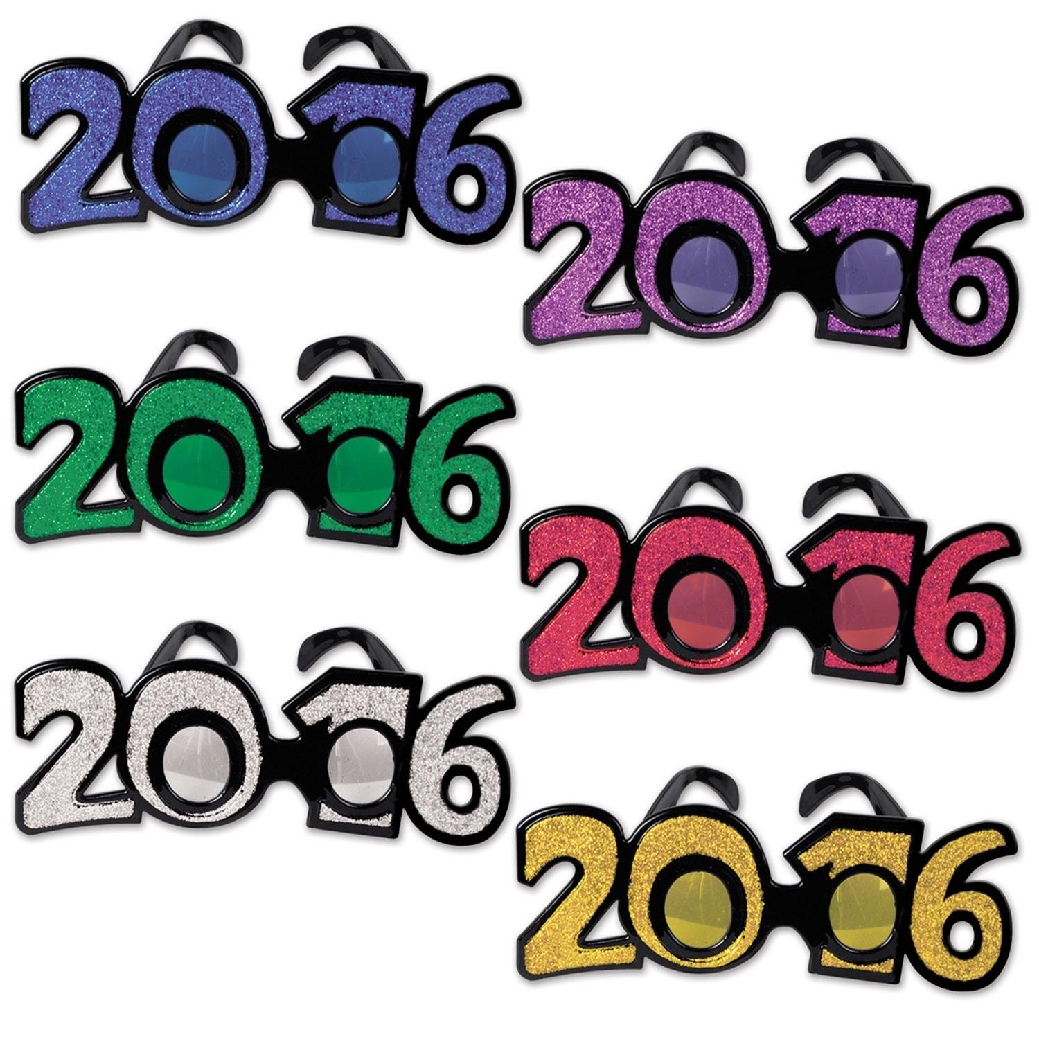 """Club Pack of 12 Multi-Colored """"2016"""" New Years Eve Themed ..."""