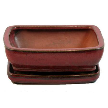 Ceramic Bonsai Pot/Attached Saucer - Parisian Red - 8