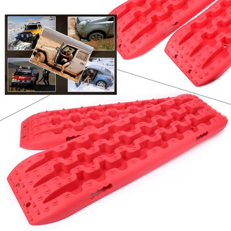GZYF 1pair Recovery Tracks RED Sand Tracks Snow Mud Track Tire Ladder 4WD Off