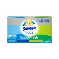 Snuggle Plus SuperFresh Fabric Softener Dryer Sheets with Static Control and Odor Eliminating Technology, Original, 105 Count