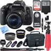 """Canon EOS Rebel T6i Digital SLR Camera Wifi + EF-S 18-55mm IS STM Lens Kit + Accessory Bundle 32GB SDHC Memory + DSLR Photo Bag + Wide Angle Lens + 2x Telephoto Lens + Flash + Remote + Tripod & More """" 24.2 Megapixel CMOS Sensor EOS Full HD Movie Built-in Wi-Fi & NFC Authorized Canon Dealer USA Warranty Wireless Takes EOS Rebel to The Next Level For gorgeous, high-quality photos and videos that are easy to share, look to the Canon EOS Rebel T6i camera. The EOS Rebel T6i does more, easier, making capturing photos and shooting videos a breeze. Its high-resolution 24.2 Megapixel CMOS (APS-C) sensor means finely detailed, crisp and natural-looking photographs. An updated light-metering system means well-exposed images. HD videos are effortless with the EOS Rebel T6i's advanced AF that provides speedy and precise focus on subjects. Canon's advanced EOS Scene Analysis system automatically adjusts the camera's settings to produce the best results whether shooting friends, landscapes, sports scenes and in tricky light situations. A first ever for the EOS Rebel line, built-in Wi-Fi and NFC are now available! Wireless connectivity provides a seamless way to exchange images and movies with compatible devices. It's easier and more convenient than ever to share movies and photos, no matter the location. Near Field Communication (NFC) allows for easy pairing with compatible Android devices and Canon's new Connect Station CS100 device! With fast performance in a number of shooting environments, the EOS Rebel T6i does the hard work, letting you focus on making gorgeous photos and HD movies. 24.2 Megapixel (APS-C) CMOS sensor The EOS Rebel T6i camera has a next-generation 24.2 Megapixel CMOS (APS-C) sensor that can capture images of incredible depth and beauty. With high resolution and an ISO sensitivity of ISO 10012800 (expandable to H: 25600) the EOS Rebel T6i can capture images of immense quality in more lighting situations. Advanced technologies combined with sophisticated automa"""