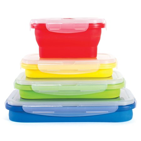 thin bins collapsible containers set of 4 square silicone food storage containers bpa free. Black Bedroom Furniture Sets. Home Design Ideas