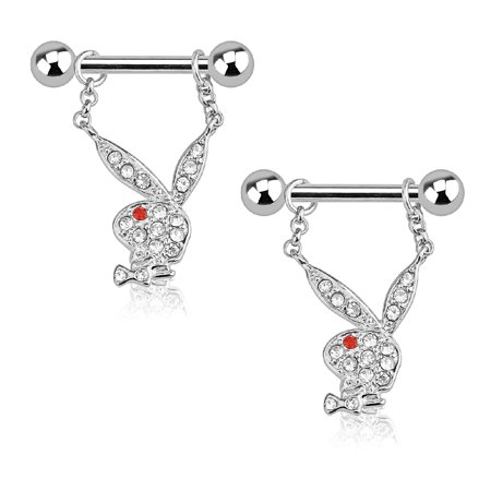 Multi Stone Dangle - Playboy Nipple Bar Bunny Multi Paved Gems 14G Dangle 316L Surgical Steel Ring 2PCS
