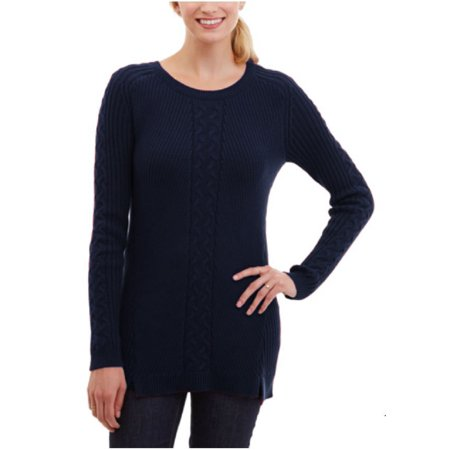 Nautica Women's Single Cable Knit Tunic Sweater (Navy, (Austin Reed Clothing)