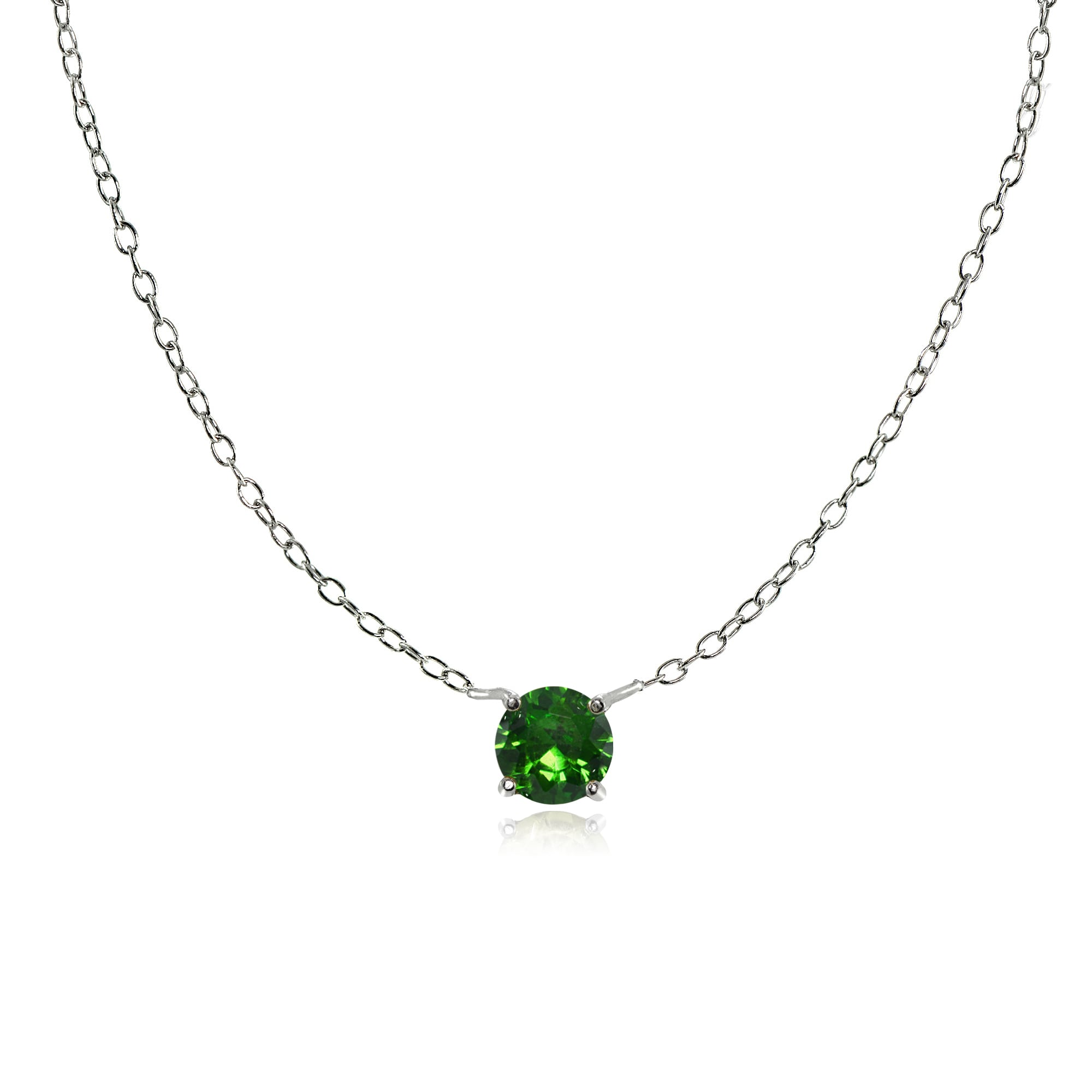 Everyday Necklace Sterling Silver Necklace with Tiny Round Gem
