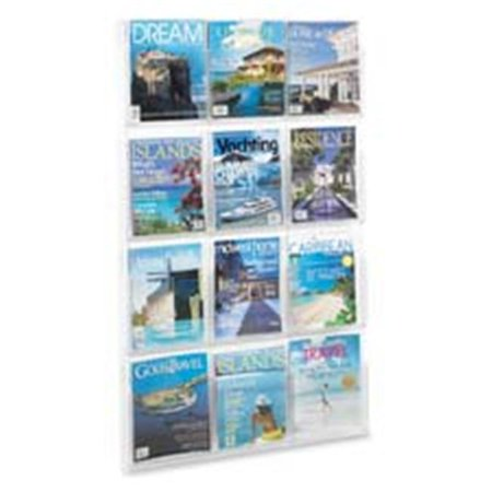 Safco Products Company SAF5602CL Literature Rack- 12 Pockets Magazine- 30in.x2in.X49in.-