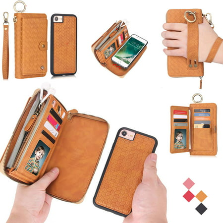Pocket Shell Pack (iPhone 6S Plus / iPhone 6 Plus Wallet Case, Allytech Premium PU Leather Zipper Cards Holder Cash Pocket Clutch Hand Strap Detachable Magnetic Back Shell for Apple iPhone 6S Plus, iPhone 6 Plus, Brown)