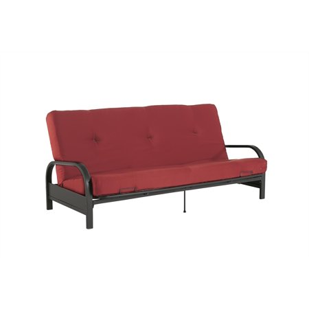 Mainstays Black Metal Arm Futon With Full Size Mattress Multiple Colors Com