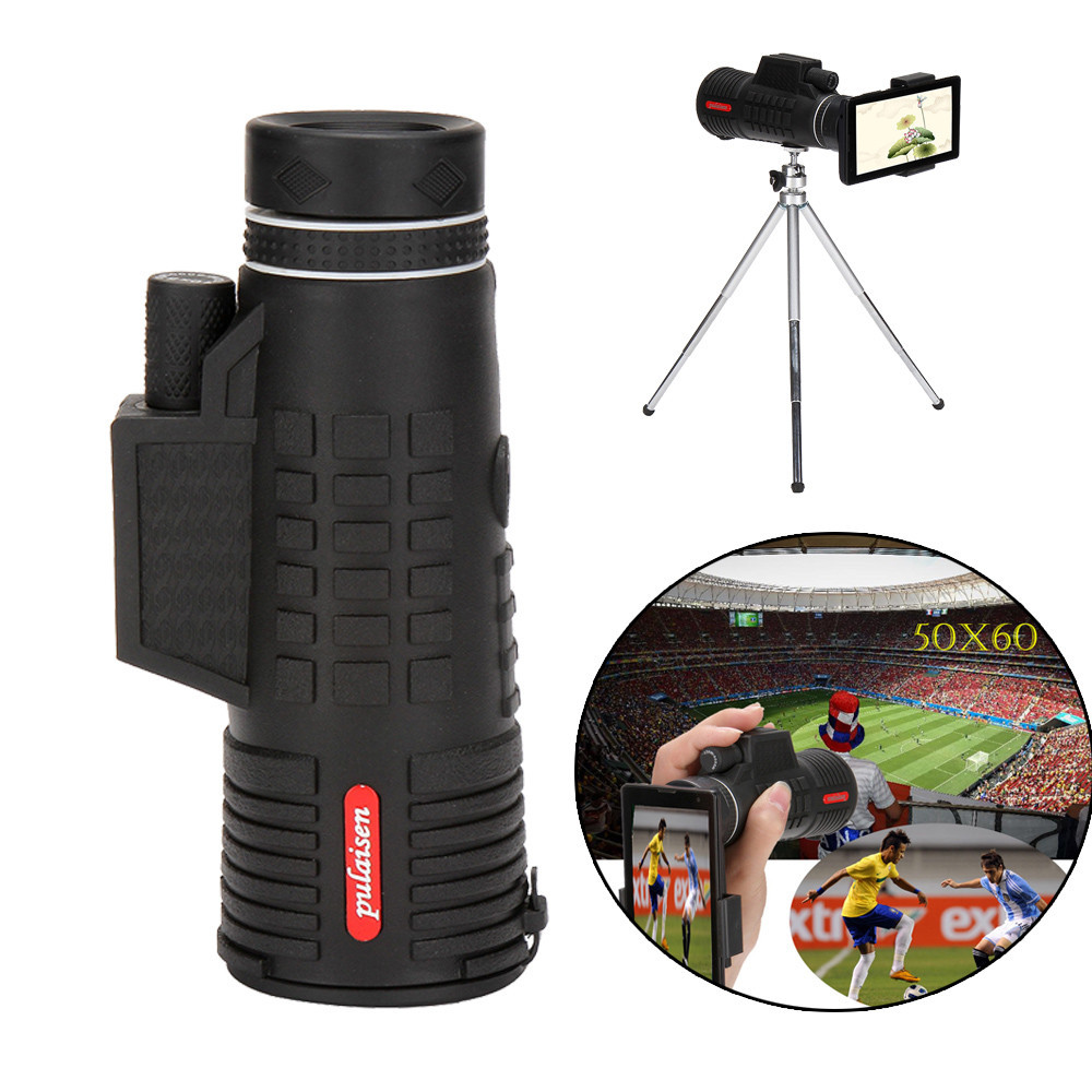 Tuscom 50X60 Zoom Optical HD Lens Monocular Telescope+ Tripod+ Clip For Universal Phone