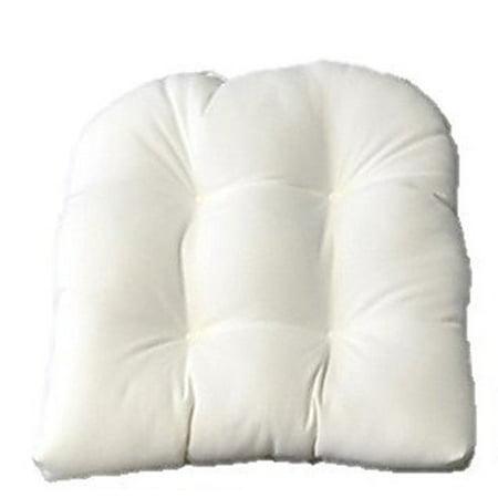 Universal Tufted U-shape Cushion for Wicker Chair Seat - Solid White Sunbrella ()