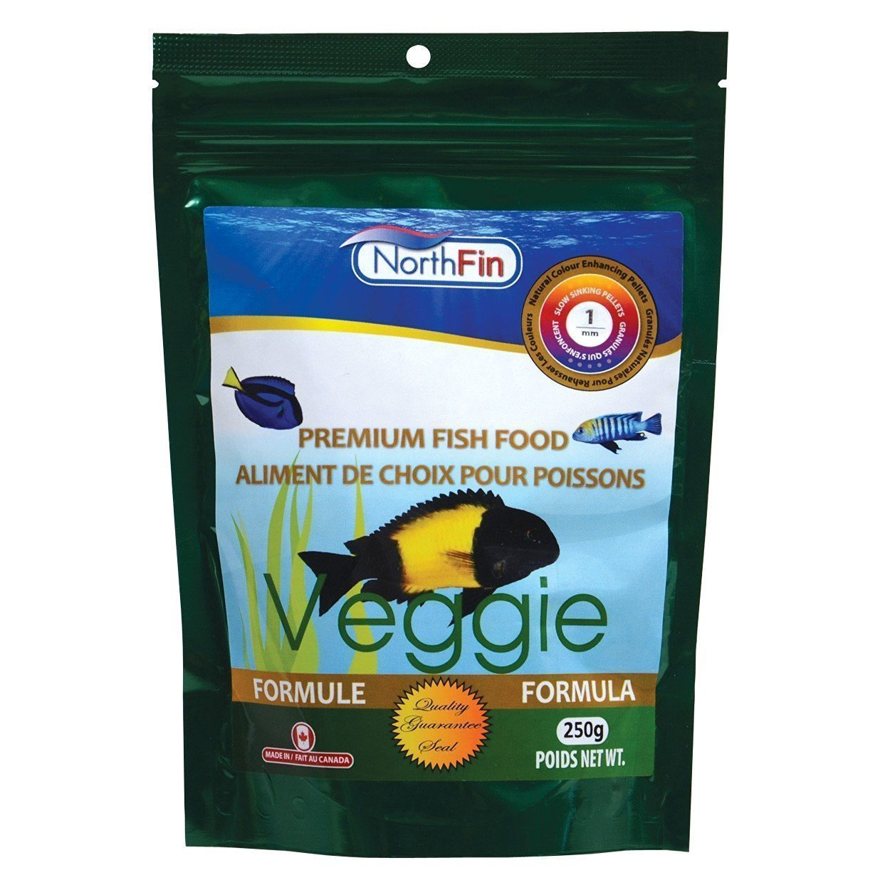 Food Veggie Formula 1mm Pellet 250 Gram Package, Formula Consist on being Filler Free, Bi-product Free and Artificial Pigment Free with no added Hormones By Northfin