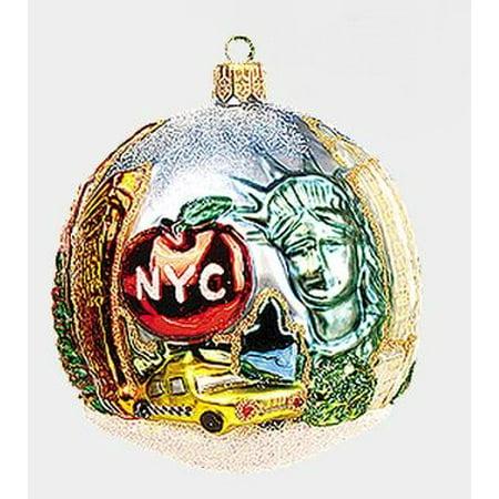 Figural Glass (New York City NYC Figural Ball Polish Mouth Blown Glass Christmas Ornament )