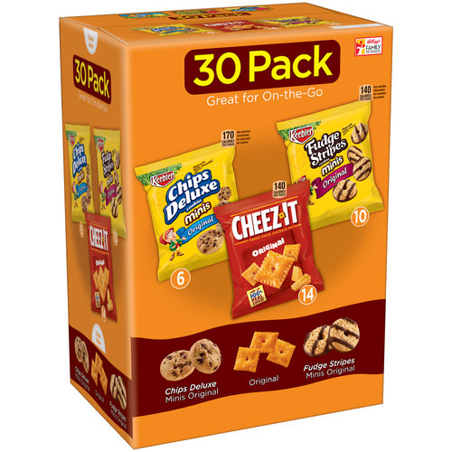Keebler Chips Deluxe Minis/Cheez-It Baked Snack Crackers/Fudge Stripes Minis Variety Pack 30 Ct